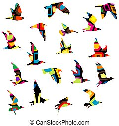 Colorful silhouettes of birds flying