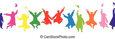 Colorful silhouettes of jumping graduates, throwing square academic caps. Seamless pattern. Vector illustration.