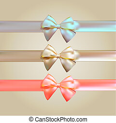 Colorful Silk Ribbon with Bow Set, vector illustration