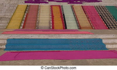 colorful silk sari on stair,India - colorful silk sari on...