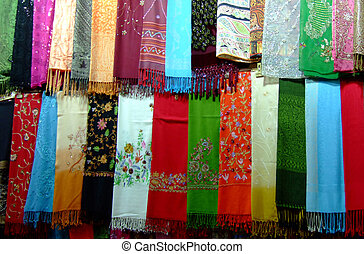 Variety of silk scarves Islamic women use to cover their heads