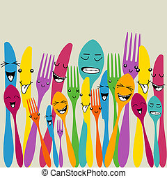 Colorful silverware set - Multicolored happy social cutlery...
