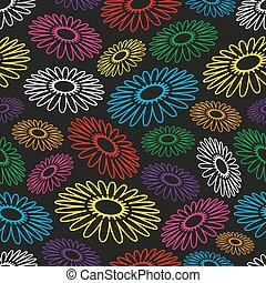 colorful simple abstract flower seamless black pattern eps10