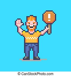colorful simple flat pixel art illustration of smiling guy holding an orange sign with a white exclamation mark on it