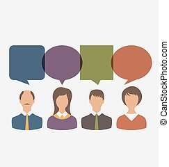 Colorful Simple Icons of Business People