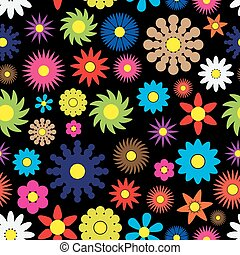colorful simple retro small flowers seamless dark pattern eps10