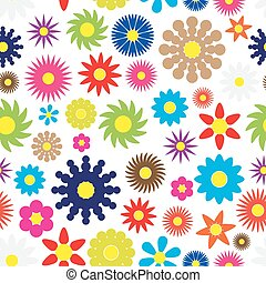 colorful simple retro small flowers seamless white pattern eps10