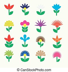 colorful simple retro small flowers set of icons eps10