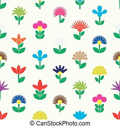 colorful simple retro small flowers set of icons seamless pattern eps10