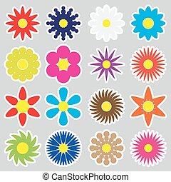 colorful simple retro small flowers set of stickers eps10