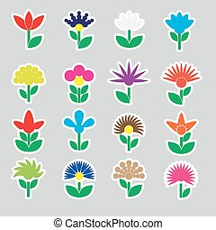 colorful simple retro small flowers set of stickers icons eps10