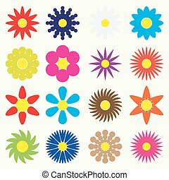 colorful simple retro small flowers set of symbol eps10