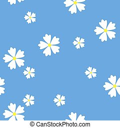 simple vector flat art seamless pattern of white flowers on blue background
