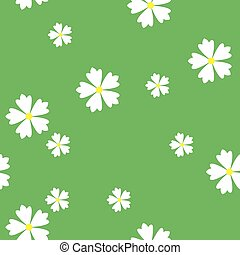 simple vector flat art seamless pattern of white flowers on green background
