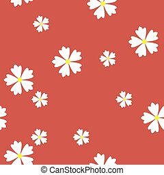 simple vector flat art seamless pattern of white flowers on red background