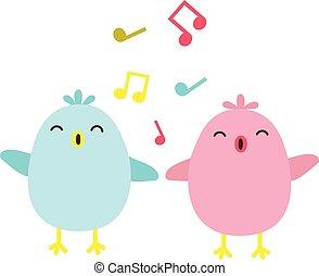 Colorful singing birds