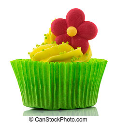 Colorful single cupcake