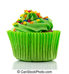 Colorful single cupcake in green