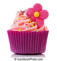 Colorful single cupcake in purple