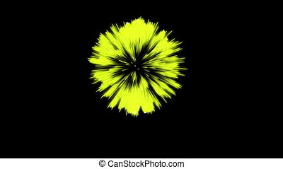 Colorful single firework at night. Spectacular single firework firecrakers 3d render. Yellow version 6