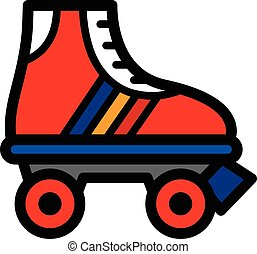 Colorful single roller skate cartoon illustration in a ...