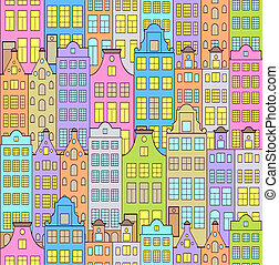 colorful sity - Vector illustration of seamless pattern with...