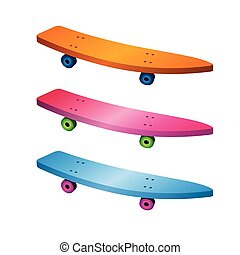 Colorful skateboard set in sharp neon colors