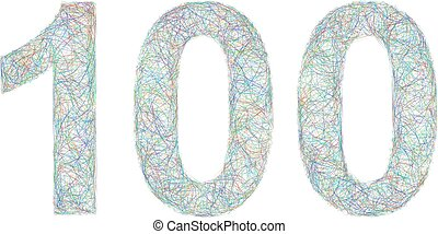 Colorful sketch anniversary design - number 100 - Sketch...