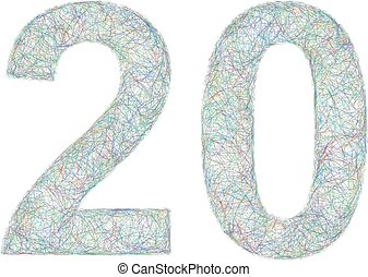 Colorful sketch anniversary design - number 20