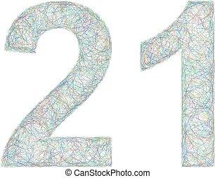 Colorful sketch anniversary design - number 21 - Sketch font...