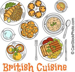 Colorful sketch of english sunday dinner