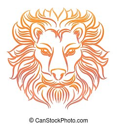 Colorful sketch of lion head