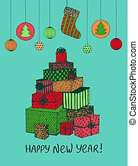 Colorful sketch of New Year presents and gifts in shape of Christmas Tree. Vector hand drawn doodle for holiday design, postcard, greeting card, invitation, banner, sticker. Modern calligraphy
