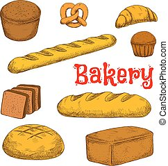 Colorful sketched bakery and pastry products