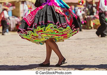 Colorful skirt during a festival on Taguile island, Peru, ...