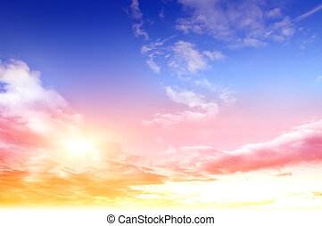 Colorful sky and sunrise. Natural landscape