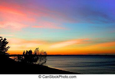 Colorful sky before sun set on lake superior