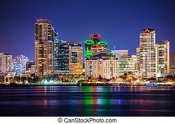 Colorful Skyline San Diego at Night. North San Diego Bay.