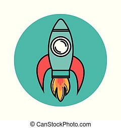 Colorful skyrocket design - Colorful skyrocket icon over...