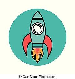 Colorful skyrocket design - Colorful skyrocket icon over...