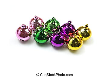 colorful sleigh bell on white background