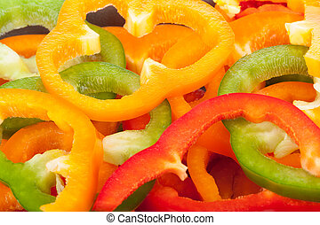 Colorful sliced bell peppers