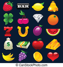 Colorful Slot Machine Icons - Colorful vector set of slot...