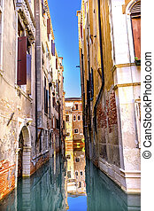 Colorful Small Side Canal Venice Italy