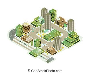 Colorful smart city isometric model vector illustration. Modern innovation cityscape infrastructure with technological transport, skyscraper, hi tech creative composition isolated on white background