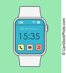 Colorful smart watch line art design with icons