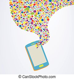 Colorful Smartphone Concept - Vector illustration of cartoon...