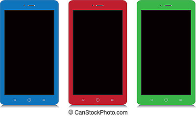 colorful smartphone with black blank screen on white background