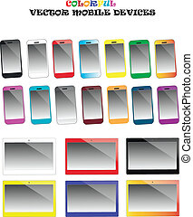 Colorful smartphones and tablets vector set