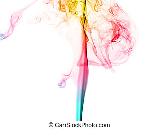 colorful smoke isolated on white background